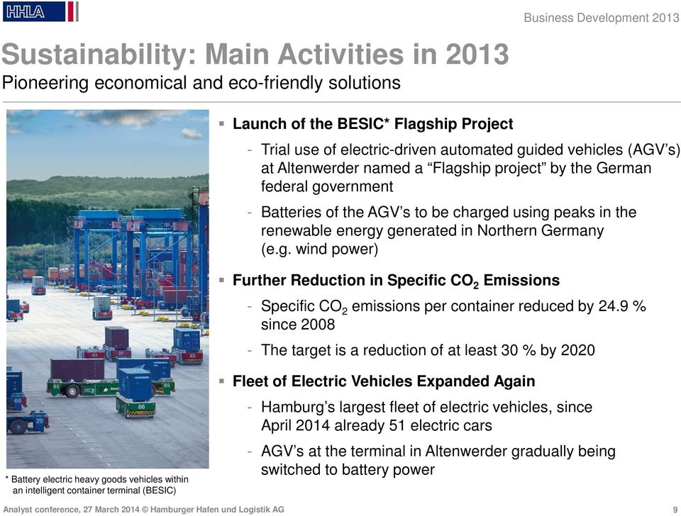 9 % since 2008 - The target is a reduction of at least 30 % by 2020 * Battery electric heavy goods vehicles within an intelligent container terminal (BESIC) Fleet of Electric Vehicles Expanded Again