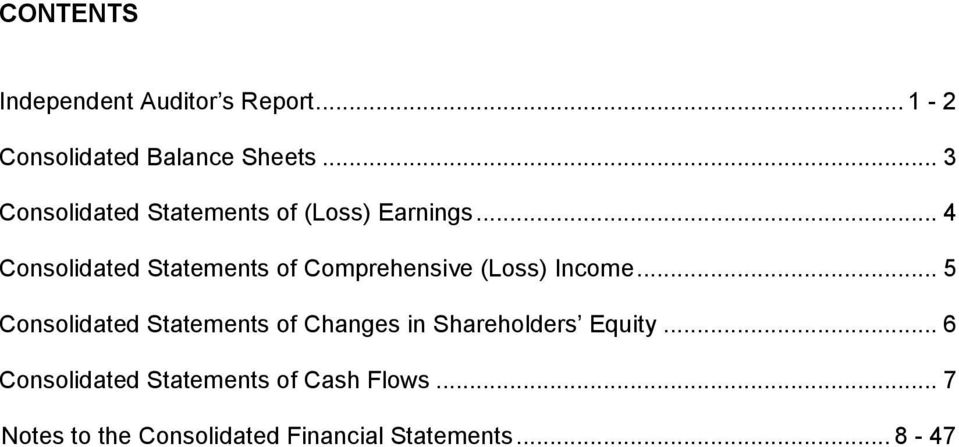 .. 4 Consolidated Statements of Comprehensive (Loss) Income.