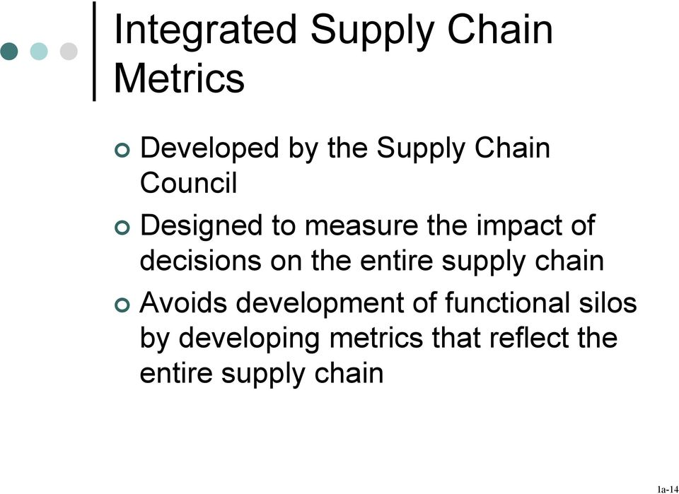 entire supply chain Avois evelopment of functional silos by