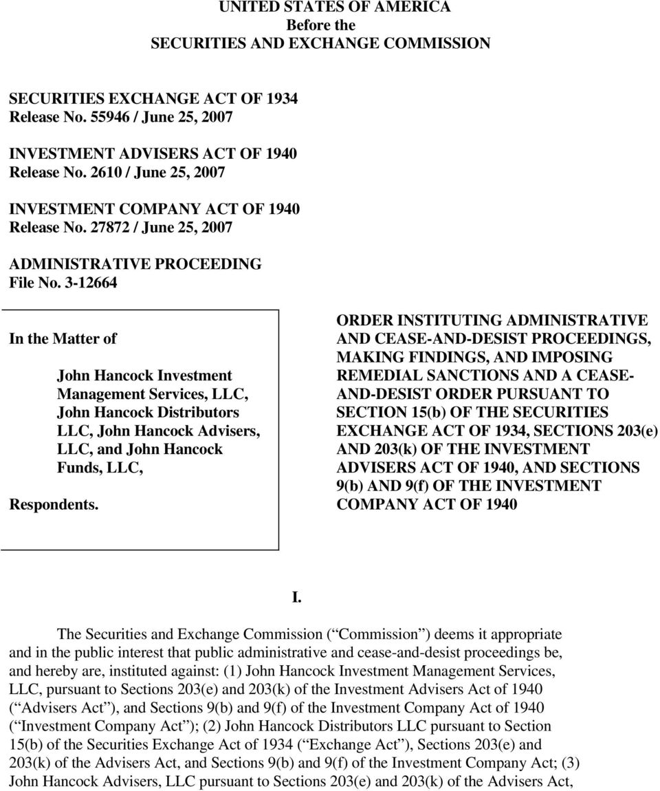 John Hancock Investment Management Services, LLC, John Hancock Distributors LLC, John Hancock Advisers, LLC, and John Hancock Funds, LLC, ORDER INSTITUTING ADMINISTRATIVE AND CEASE-AND-DESIST