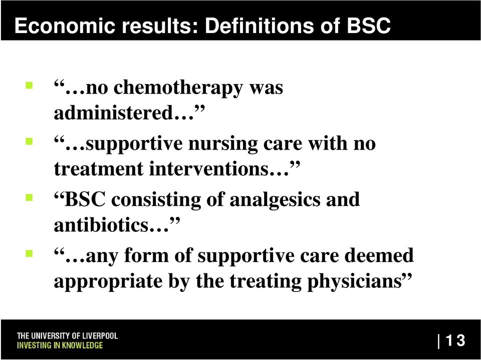 interventions BSC consisting of analgesics and antibiotics