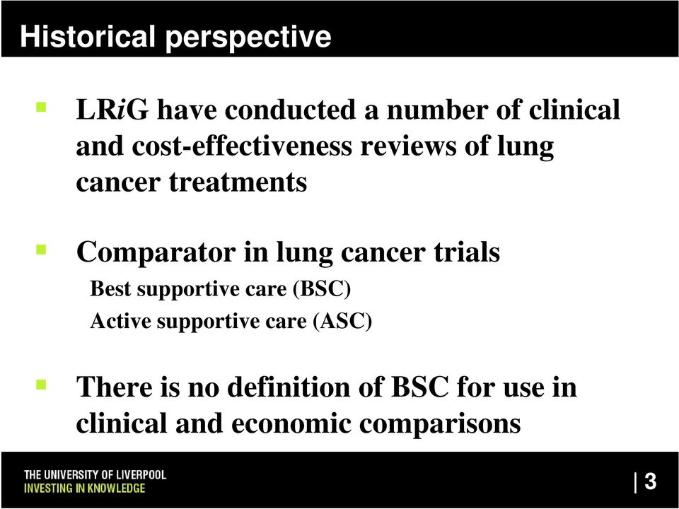cancer trials Best supportive care (BSC) Active supportive care (ASC)