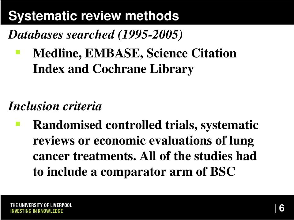 controlled trials, systematic reviews or economic evaluations of lung