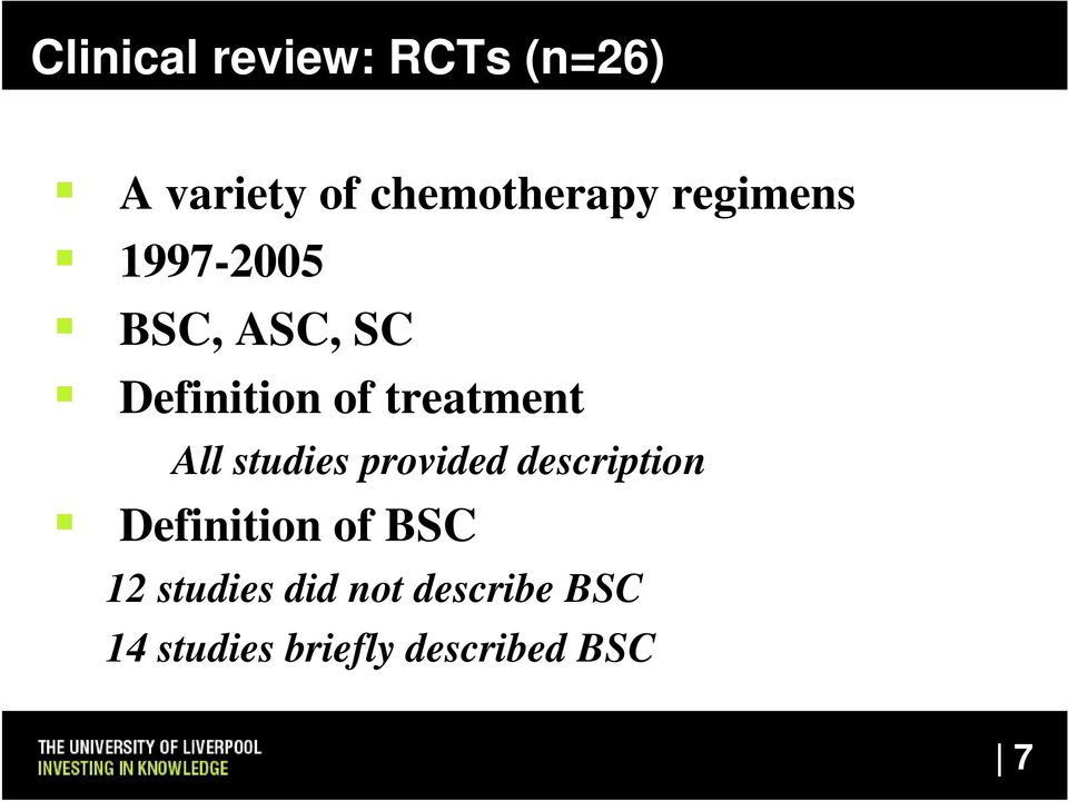 All studies provided description Definition of BSC 12