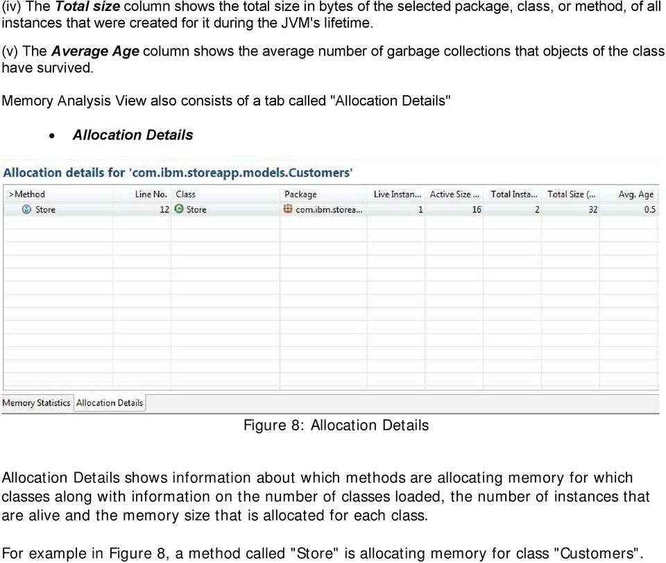 "Memory Analysis View also consists of a tab called ""Allocation Details"" Allocation Details Figure 8: Allocation Details Allocation Details shows information about which methods are"
