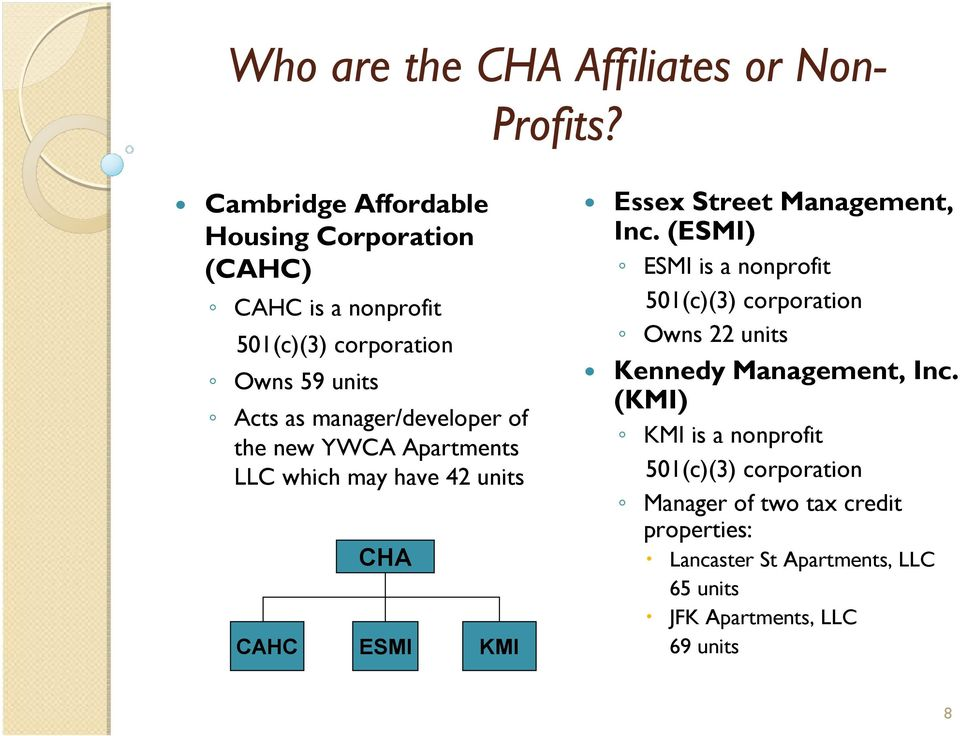 of the new YWCA Apartments LLC which may have 42 units CHA CAHC ESMI KMI Essex Street Management, Inc.