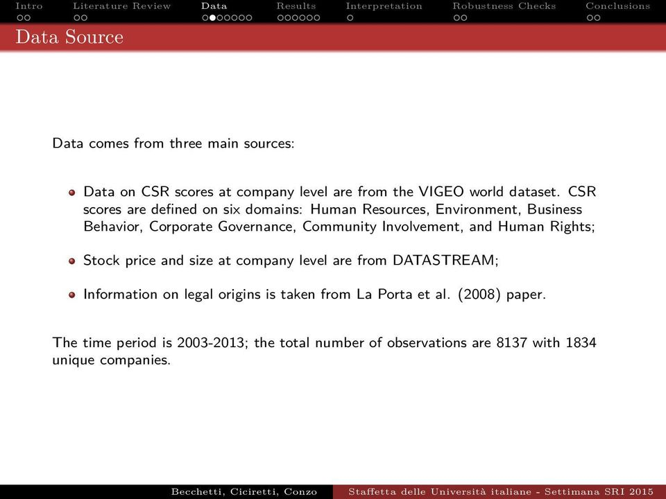 Involvement, and Human Rights; Stock price and size at company level are from DATASTREAM; Information on legal origins is