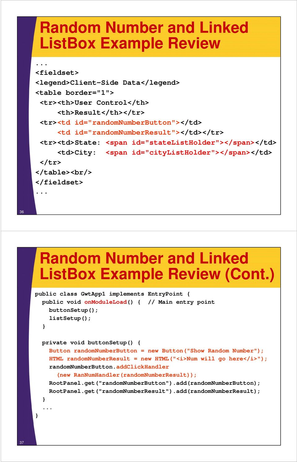 Linked ListBox Example Review (Cont.