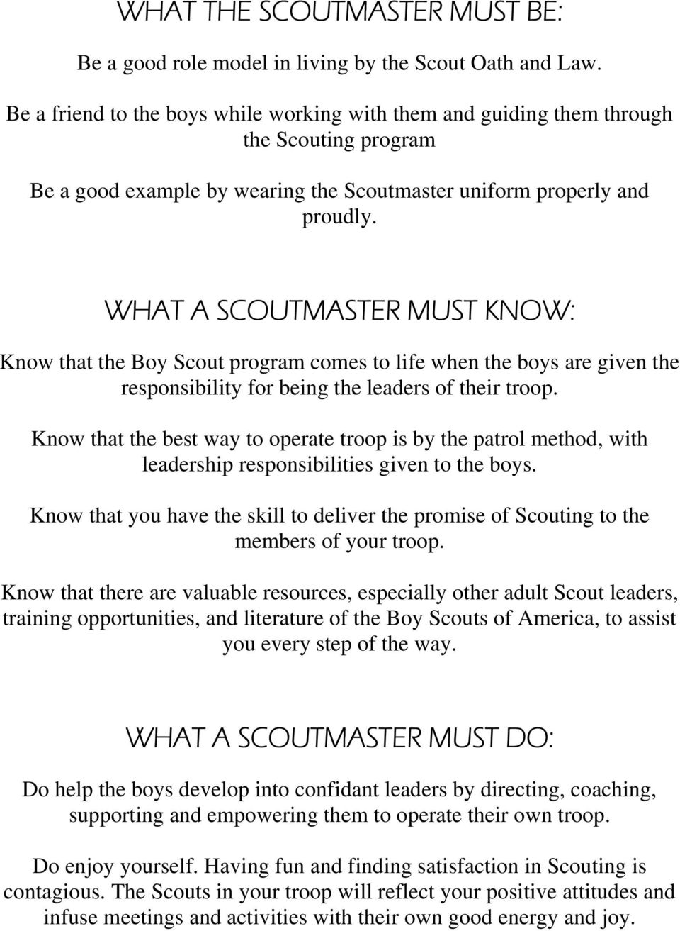 What A Scoutmaster Must Know That The Boy Scout Program Comes To Life When