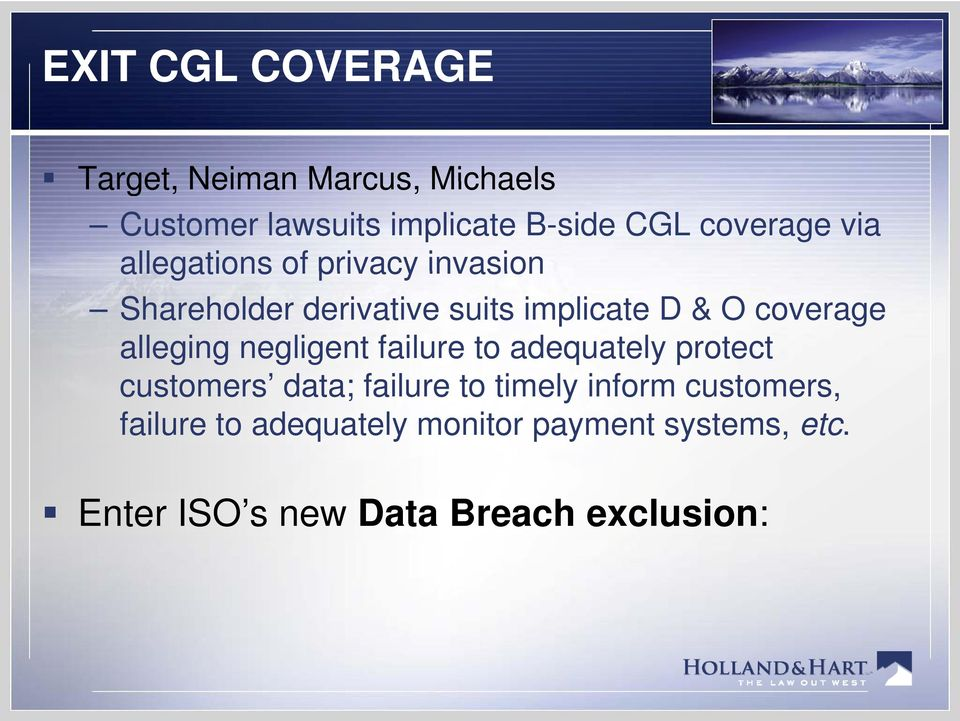 coverage alleging g negligent g failure to adequately protect customers data; failure to timely