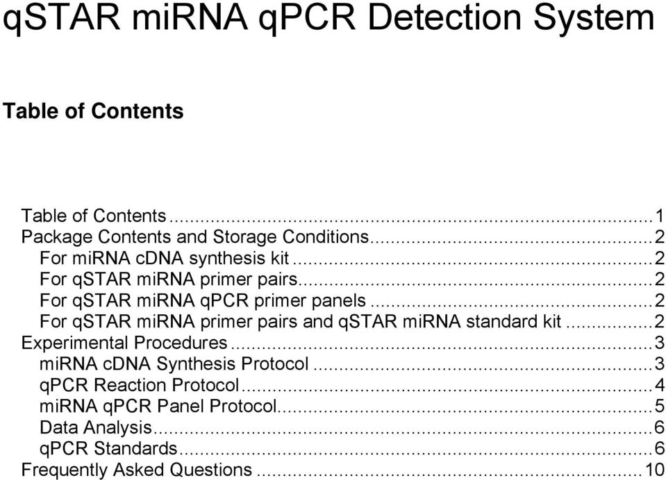 ..2 For qstar mirna primer pairs and qstar mirna standard kit...2 Experimental Procedures.