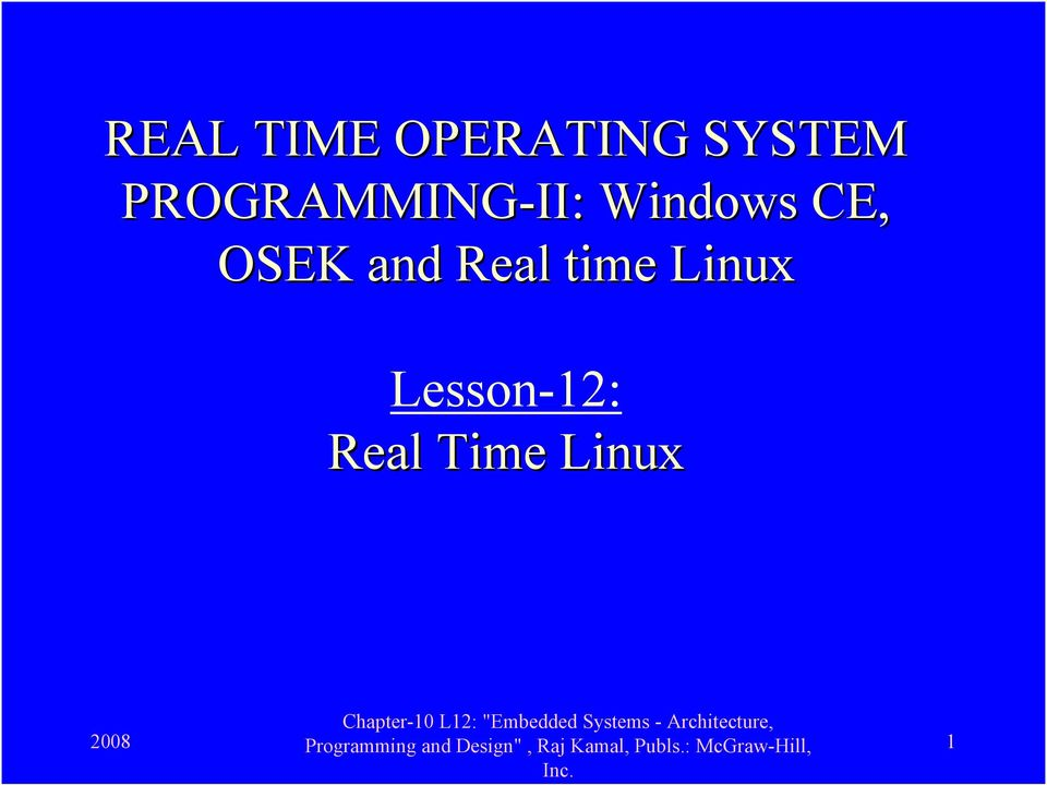 CE, OSEK and Real time