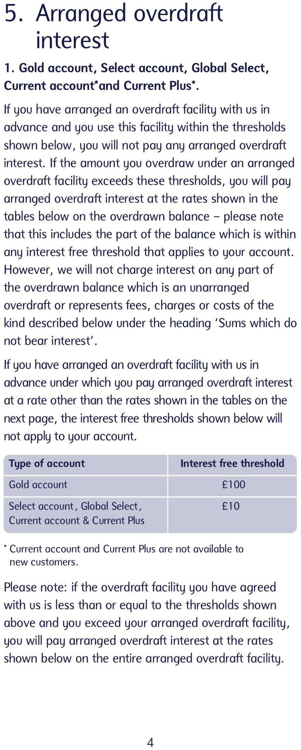 If the amount you overdraw under an arranged overdraft facility exceeds these thresholds, you will pay arranged overdraft interest at the rates shown in the tables below on the overdrawn balance