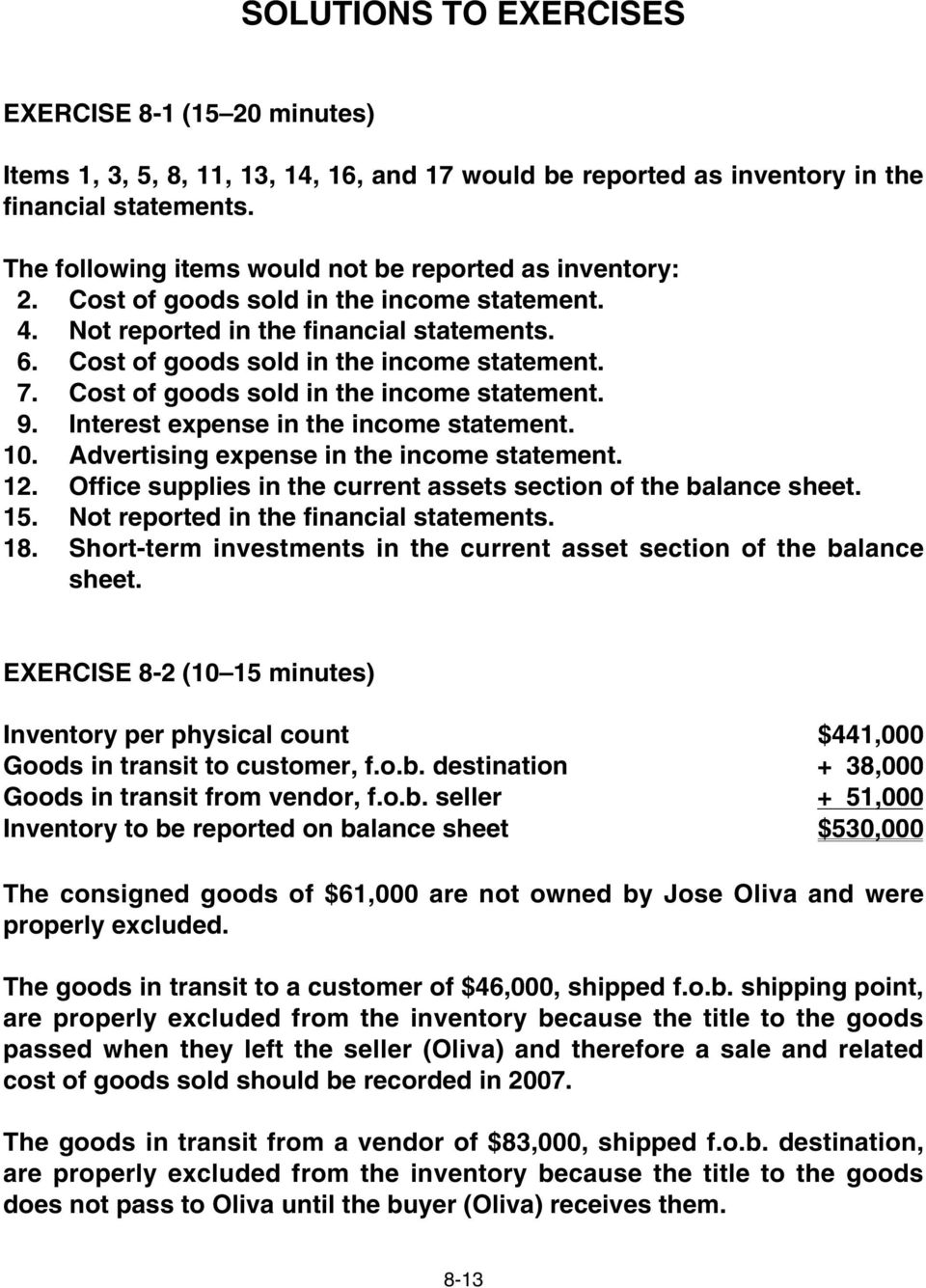 Cost of goods sold in the income statement. 9. Interest expense in the income statement. 10. Advertising expense in the income statement. 12.