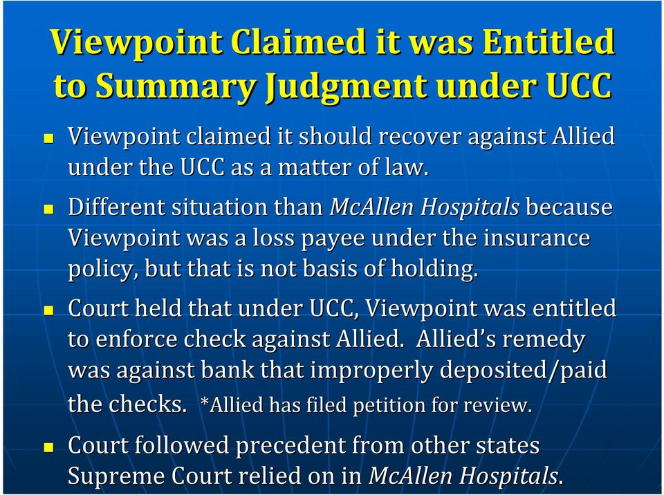 Court held that under UCC, Viewpoint was entitled to enforce check against Allied.