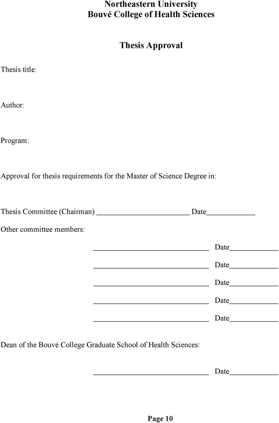 Master of Science Degree in: Thesis Committee (Chairman) Other committee