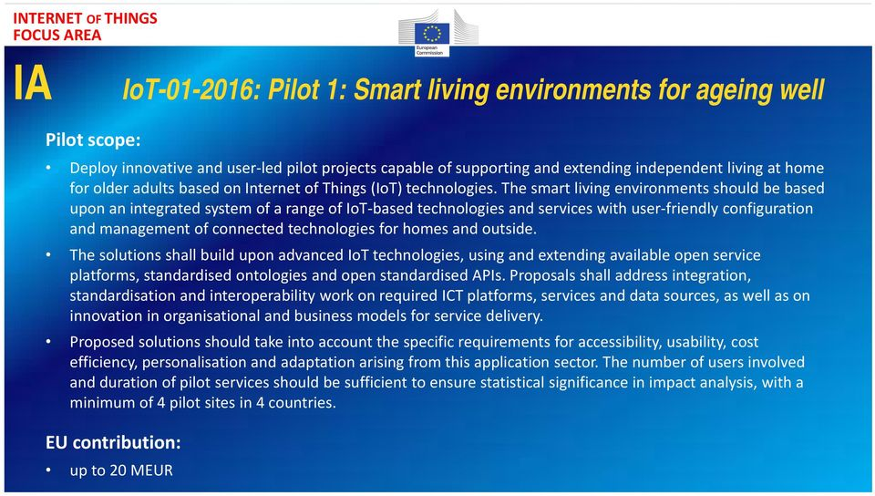 The smart living environments should be based upon an integrated system of a range of IoT based technologies and services with user friendly configuration and management of connected technologies for