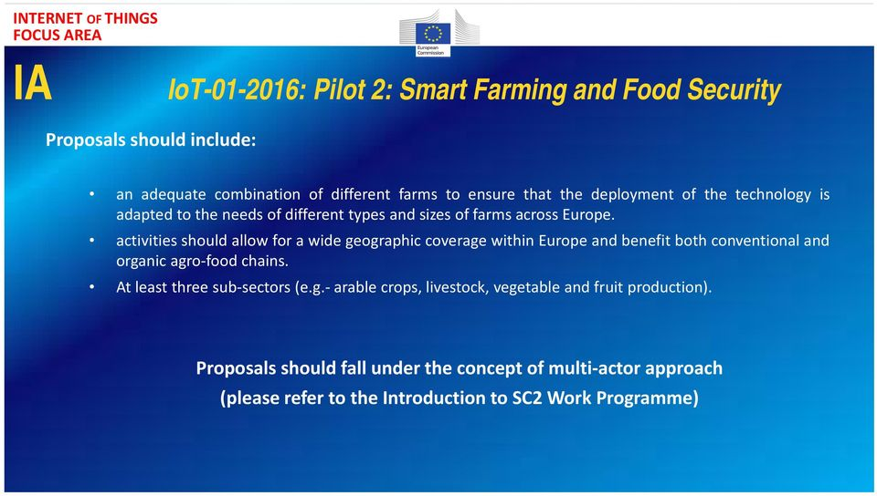activities should allow for a wide geographic coverage within Europe and benefit both conventional and organic agro food chains.