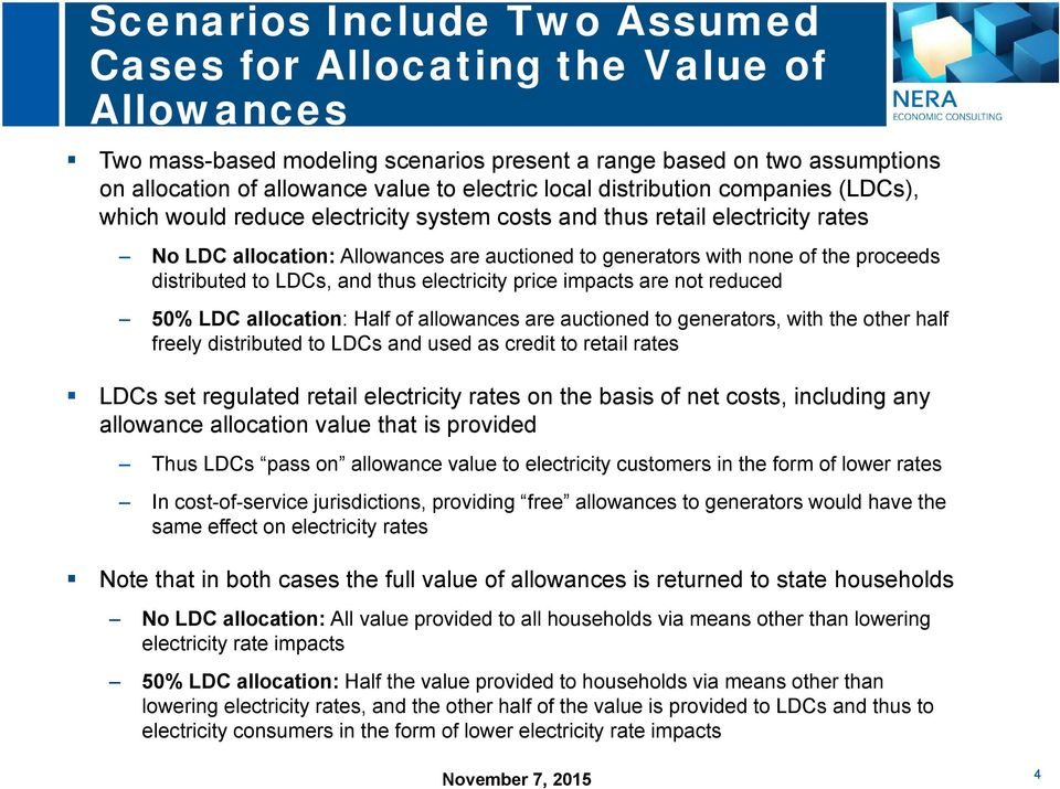 distributed to LDCs, and thus electricity price impacts are not reduced 50% LDC allocation: Half of allowances are auctioned to generators, with the other half freely distributed to LDCs and used as