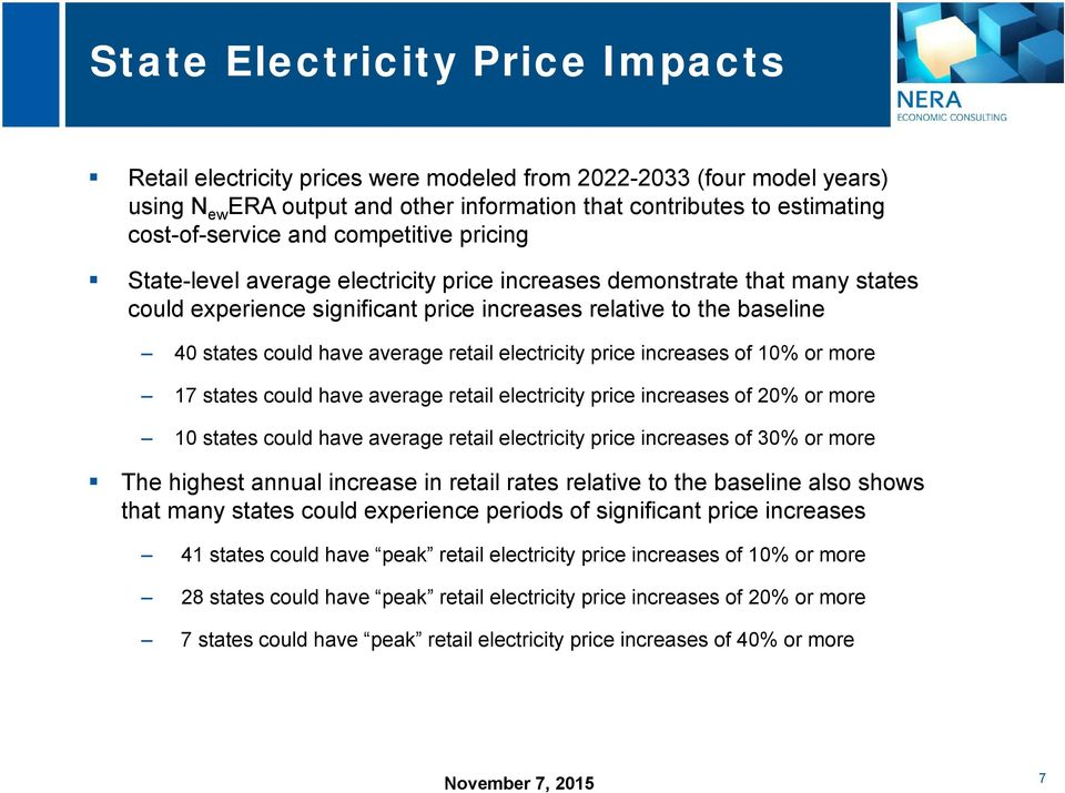 retail electricity price increases of 10% or more 17 states could have average retail electricity price increases of 20% or more 10 states could have average retail electricity price increases of 30%