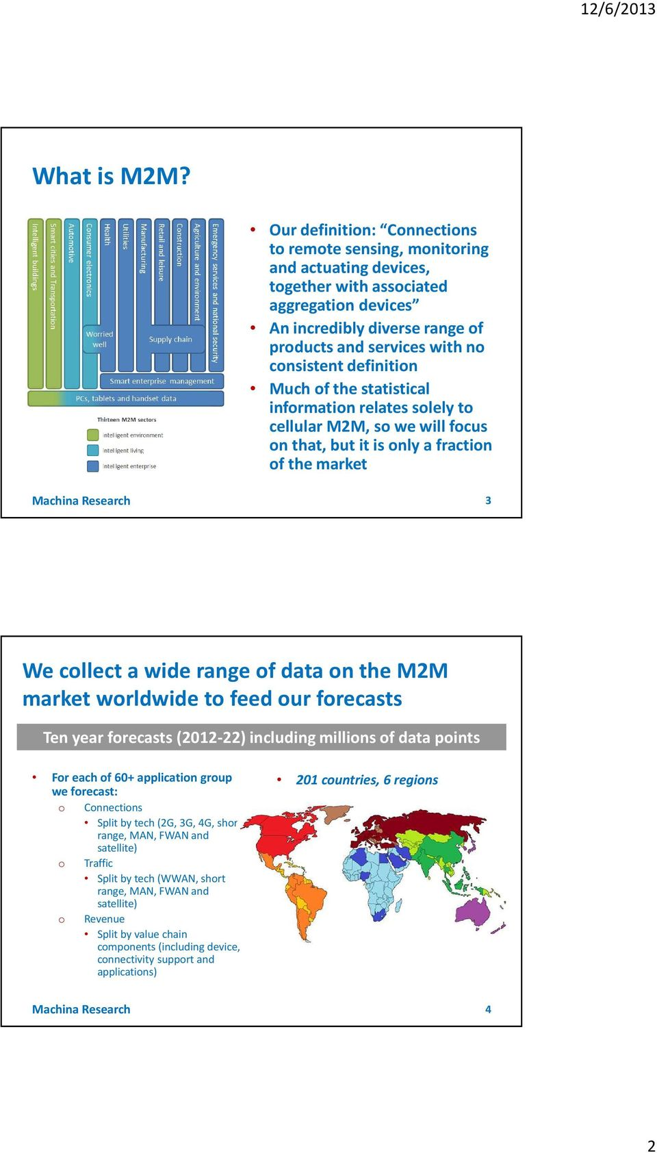 definition Much of the statistical information relates solely to cellular M2M, so we will focus on that, but it is only a fraction of the market Machina Research 3 We collect a wide range of data on
