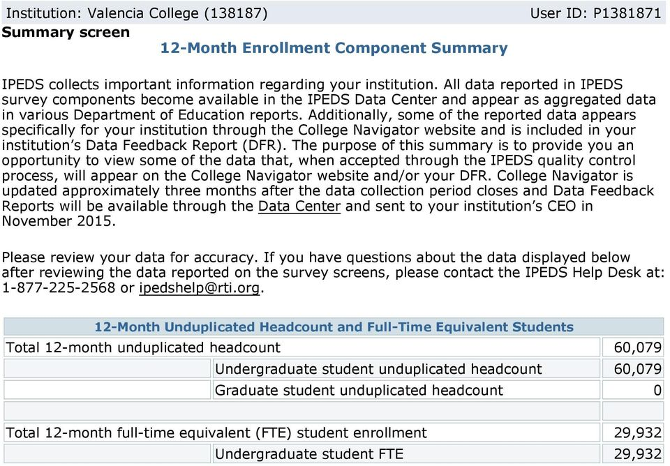 Additionally, some of the reported data appears specifically for your institution through the College Navigator website and is included in your institution s Data Feedback Report (DFR).