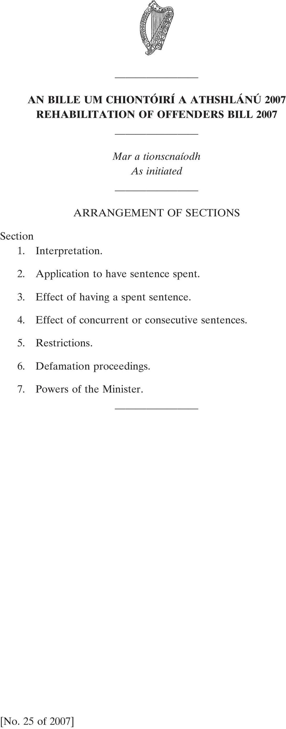 Application to have sentence spent. 3. Effect of having a spent sentence. 4.