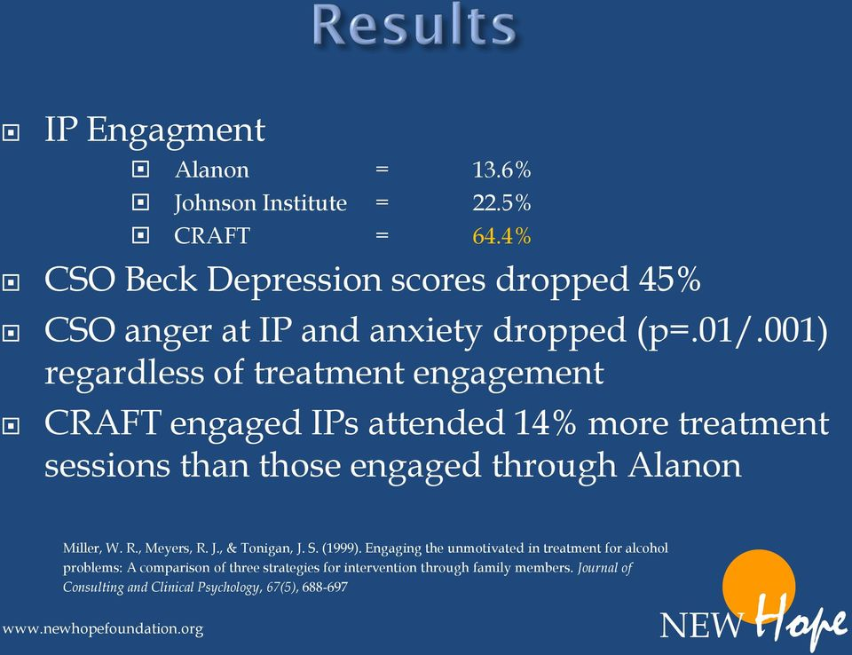 001) regardless of treatment engagement CRAFT engaged IPs attended 14% more treatment sessions than those engaged through Alanon