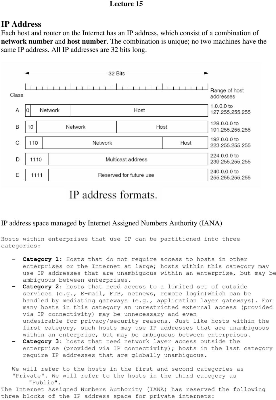 IP address space managed by Internet Assigned Numbers Authority (IANA) Hosts within enterprises that use IP can be partitioned into three categories: - Category 1: Hosts that do not require access to