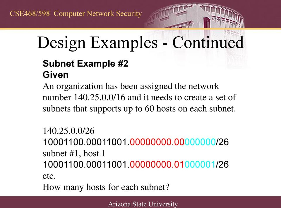 25.0.0/16 and it needs to create a set of subnets that supports up to 60 hosts on each