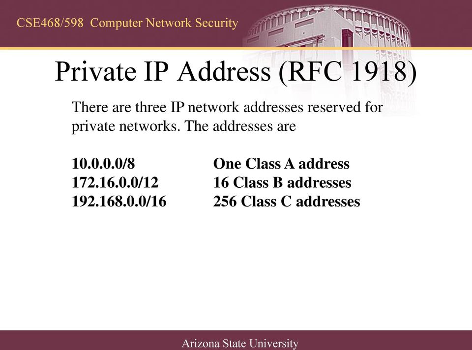 The addresses are 10.0.0.0/8 One Class A address 172.