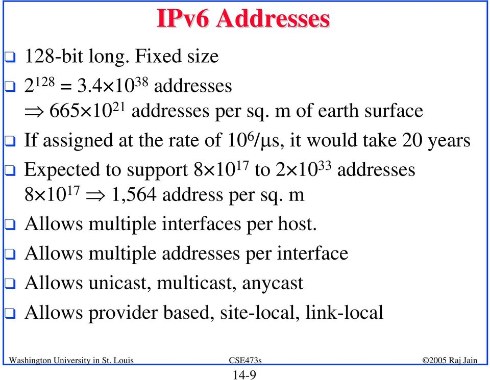 17 to 2 10 33 addresses 8 10 17 1,564 address per sq. m q Allows multiple interfaces per host.
