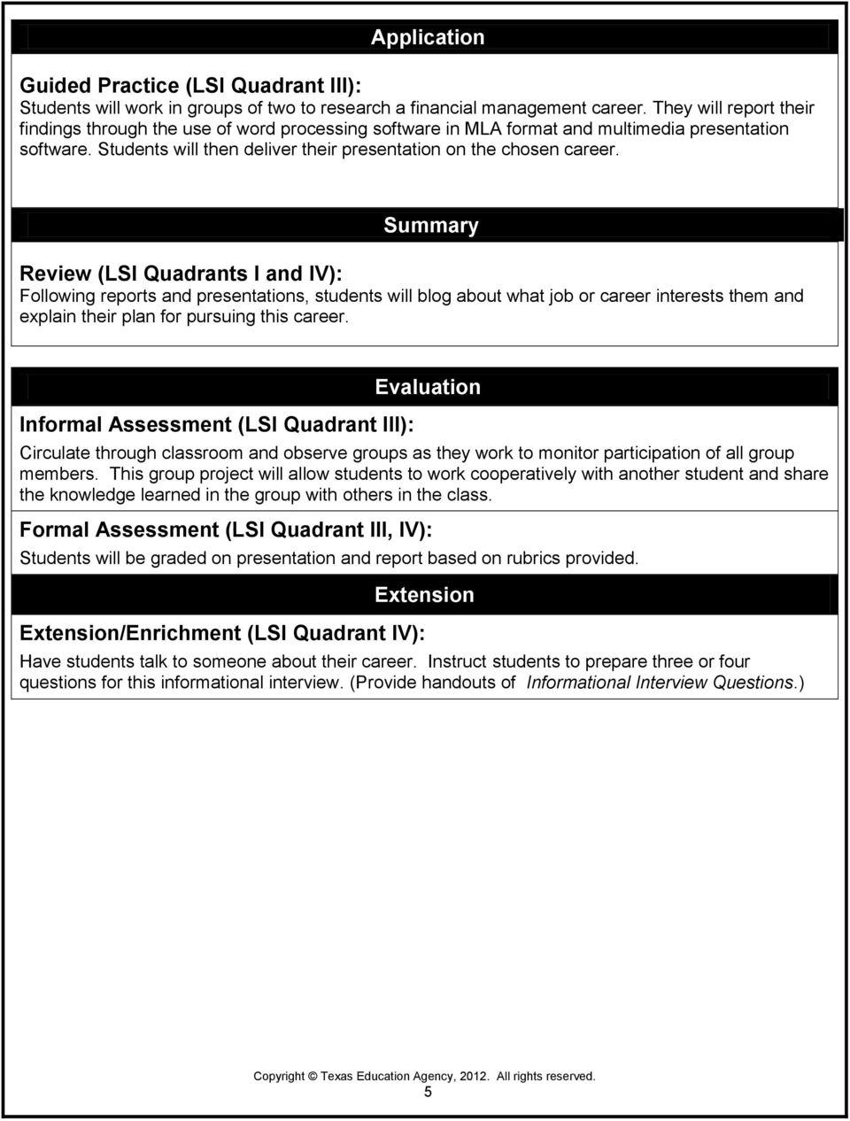 Summary Review (LSI Quadrants I and IV): Following reports and presentations, students will blog about what job or career interests them and explain their plan for pursuing this career.