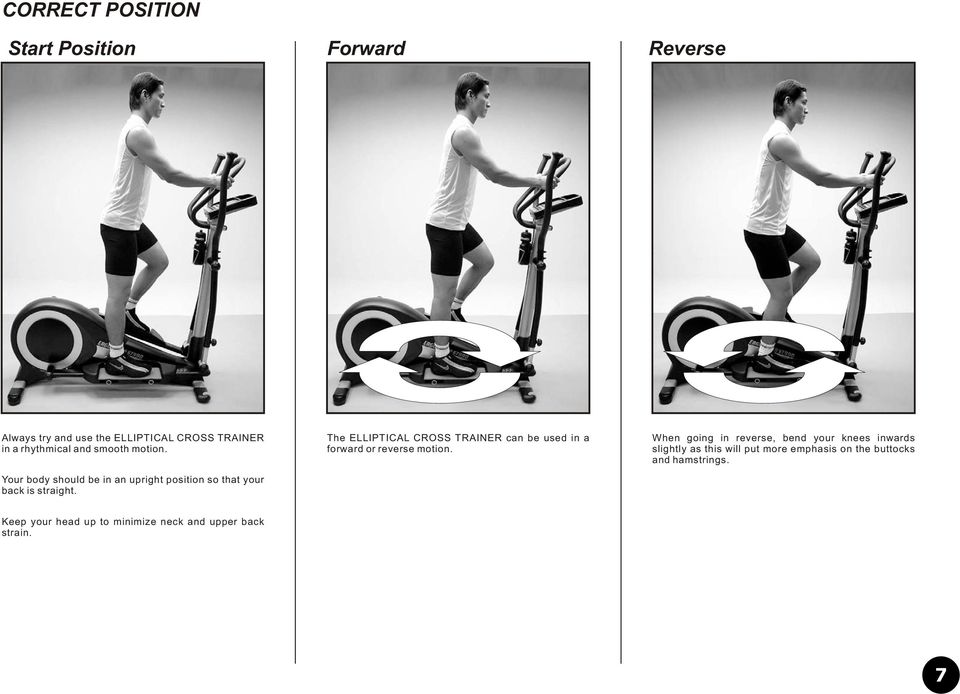The ELLIPTICAL CROSS TRAINER can be used in a forward or reverse motion.