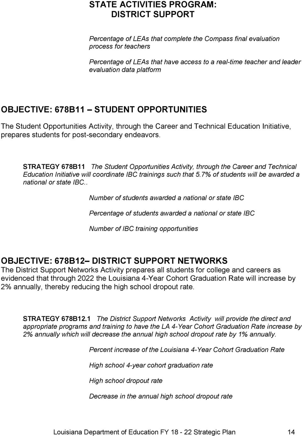 endeavors. STRATEGY 678B11 The Student Opportunities Activity, through the Career and Technical Education Initiative will coordinate IBC trainings such that 5.