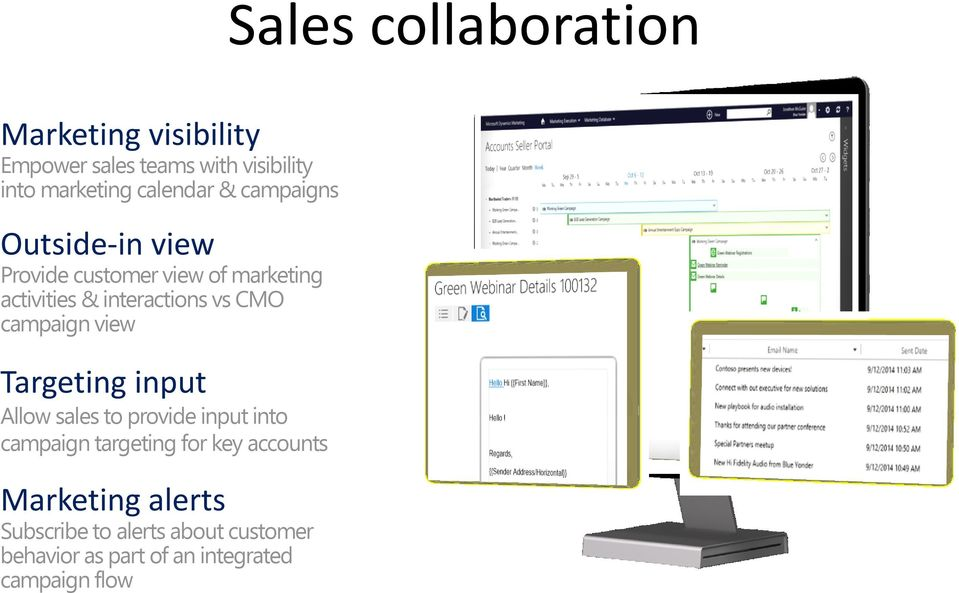 vs CMO campaign view Targeting input Allow sales to provide input into campaign targeting for key