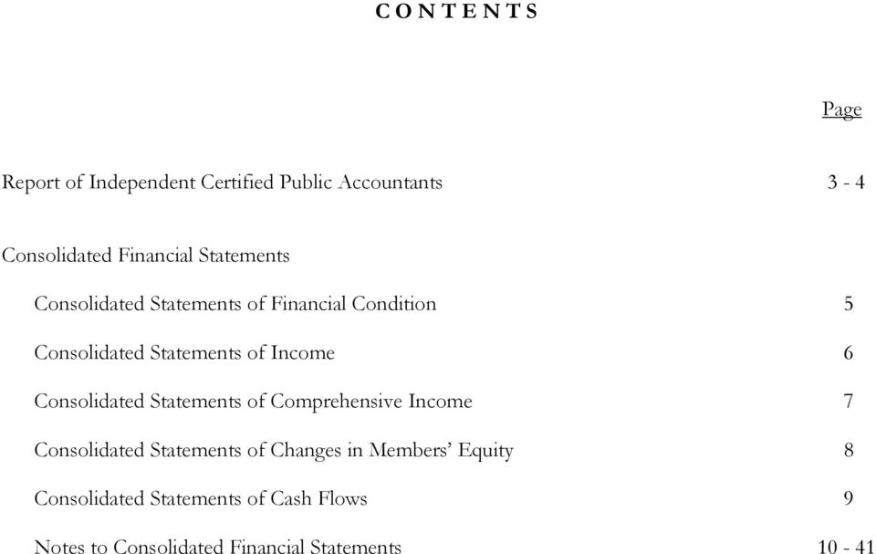 Income 6 Consolidated Statements of Comprehensive Income 7 Consolidated Statements of Changes in