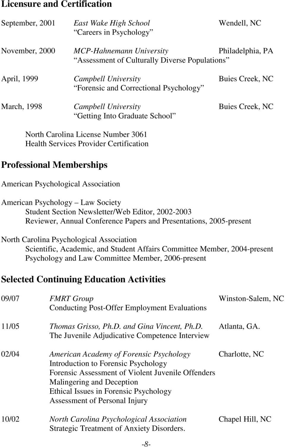 Number 3061 Health Services Provider Certification Professional Memberships American Psychological Association American Psychology Law Society Student Section Newsletter/Web Editor, 2002-2003