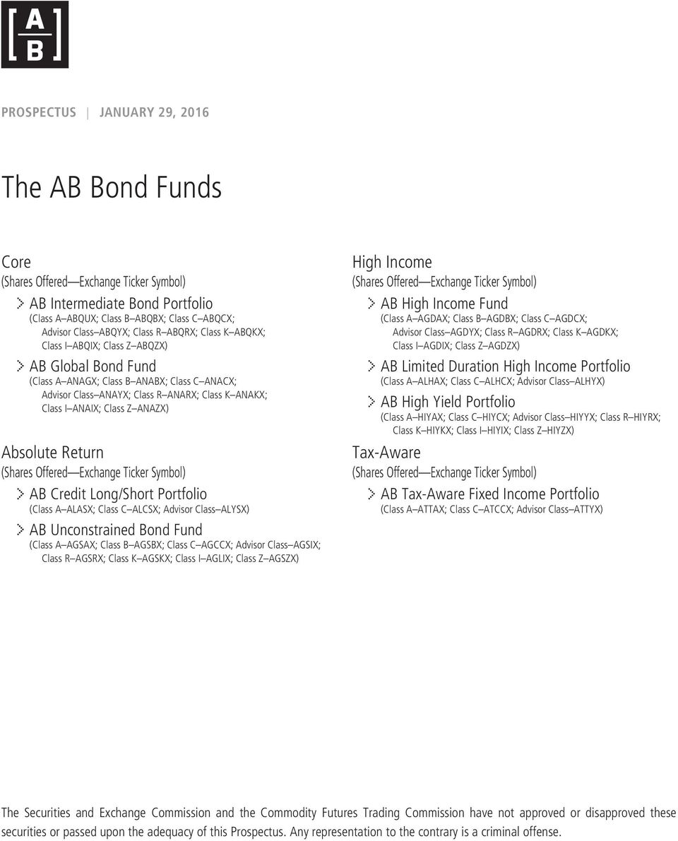 Absolute Return (Shares Offered Exchange Ticker Symbol) AB Credit Long/Short Portfolio (Class A ALASX; Class C ALCSX; Advisor Class ALYSX) AB Unconstrained Bond Fund (Class A AGSAX; Class B AGSBX;