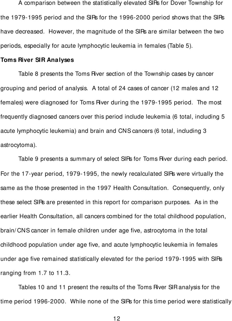 Toms River SIR Analyses Table 8 presents the Toms River section of the Township cases by cancer grouping and period of analysis.