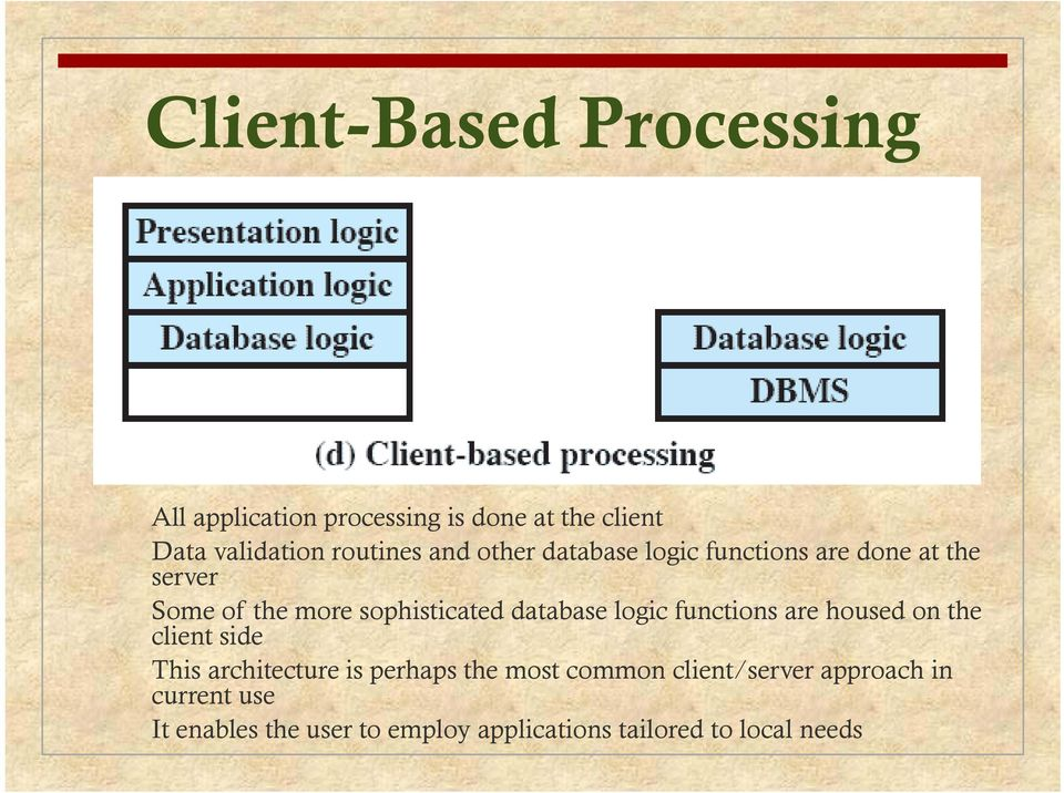 logic functions are housed on the client side This architecture is perhaps the most common
