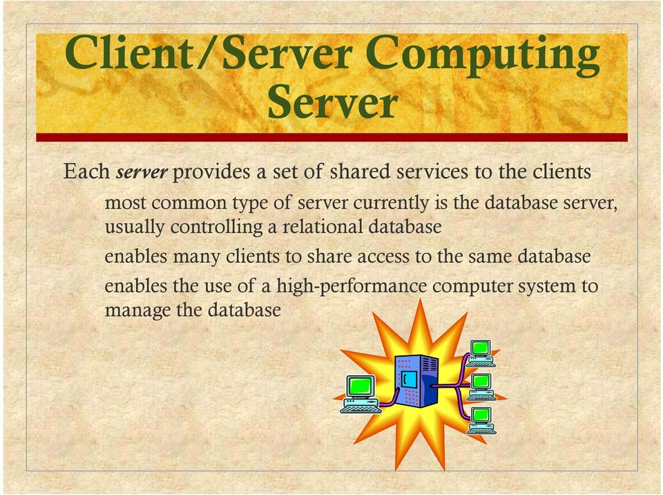 controlling a relational database enables many clients to share access to the same