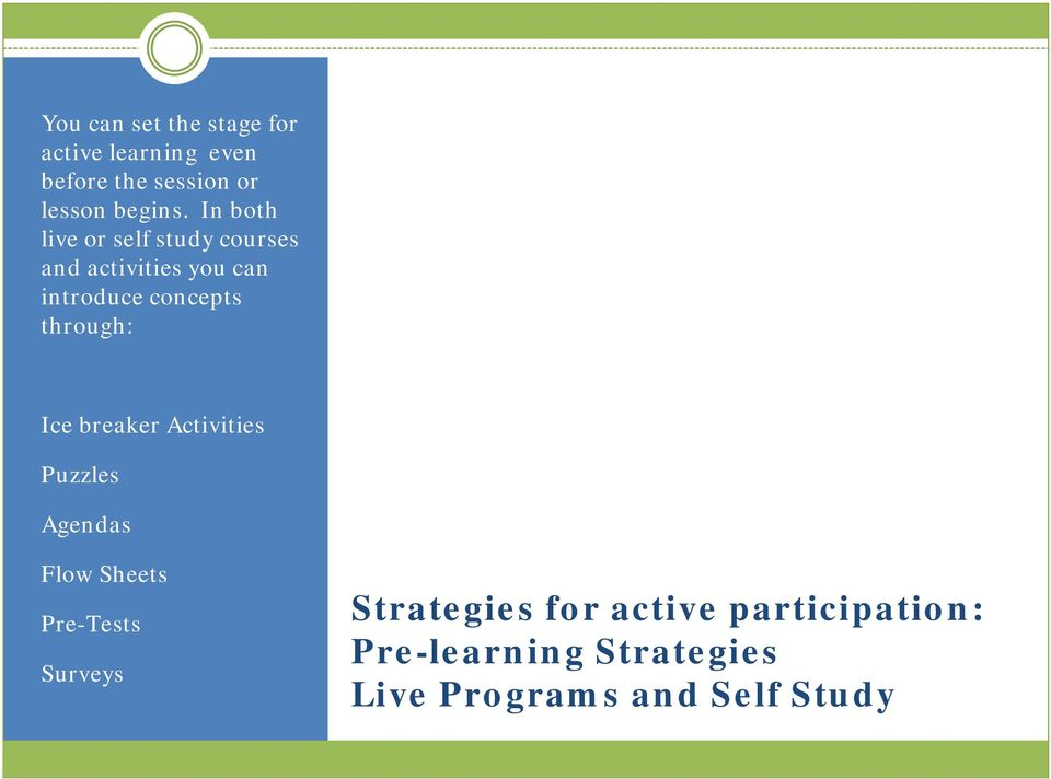 In both live or self study courses and activities you can introduce concepts