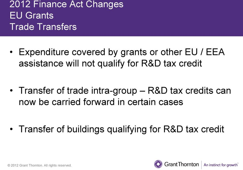 credit Transfer of trade intra-group R&D tax credits can now be carried
