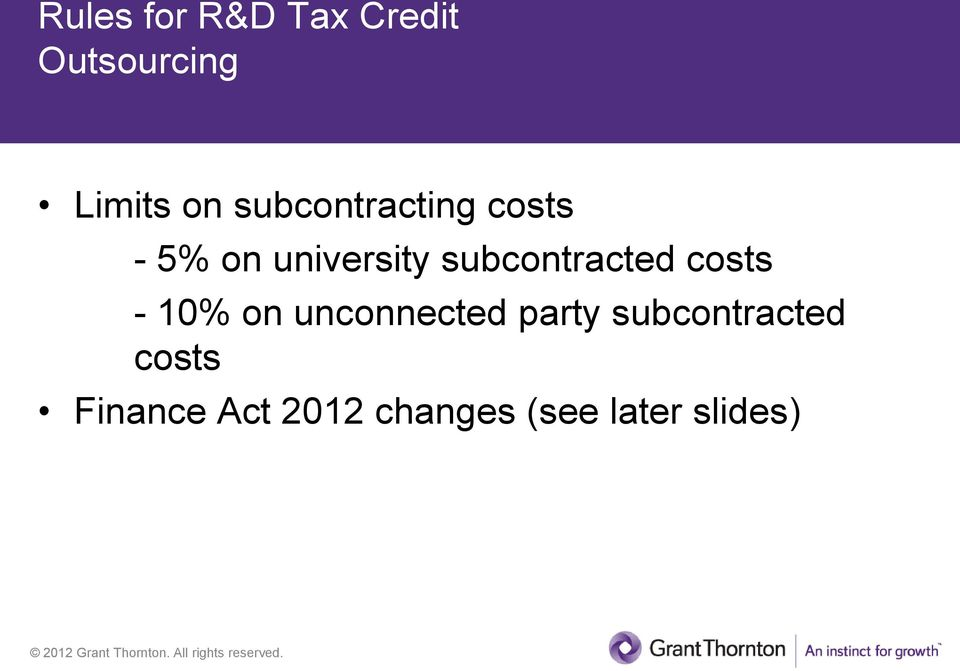 subcontracted costs - 10% on unconnected party
