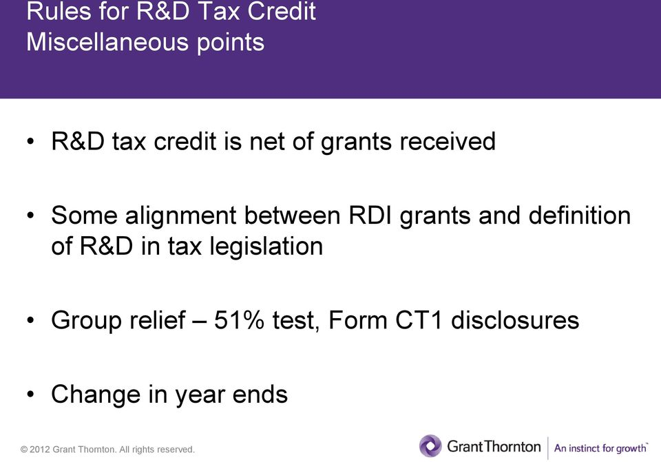 RDI grants and definition of R&D in tax legislation