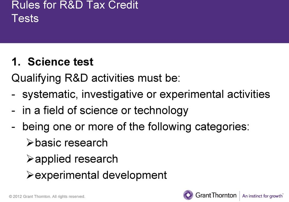 investigative or experimental activities - in a field of science or