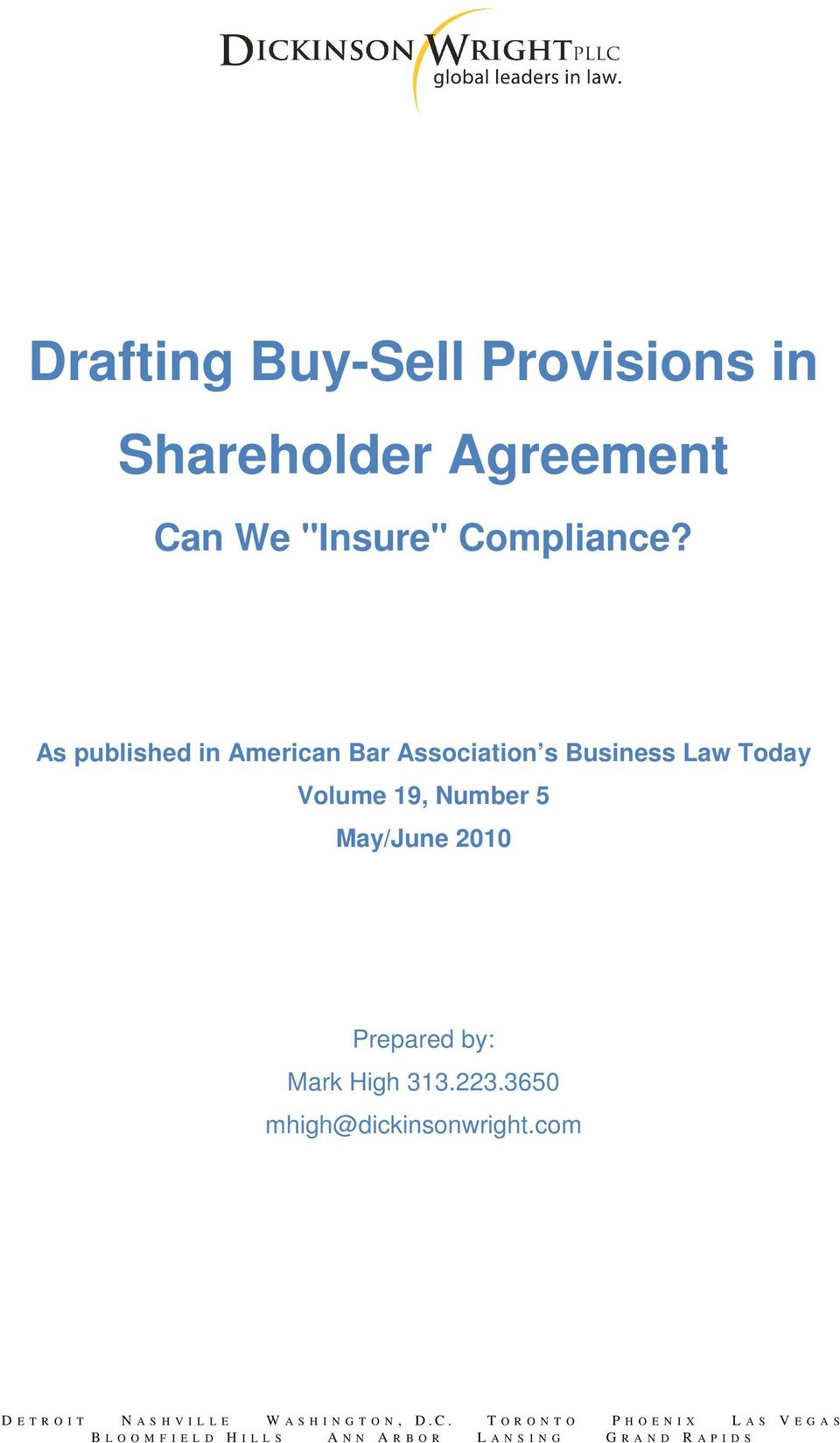 Drafting Buy Sell Provisions In Shareholder Agreement Pdf
