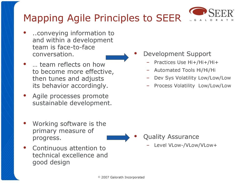 Agile processes promote sustainable development.