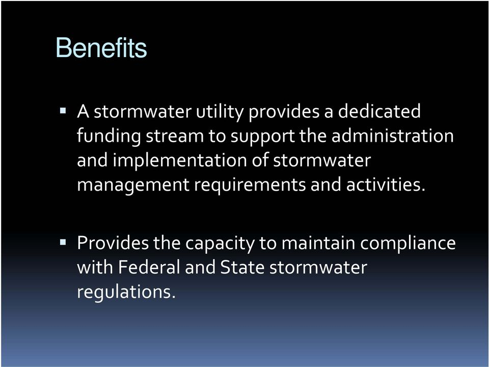 stormwater management requirements and activities.
